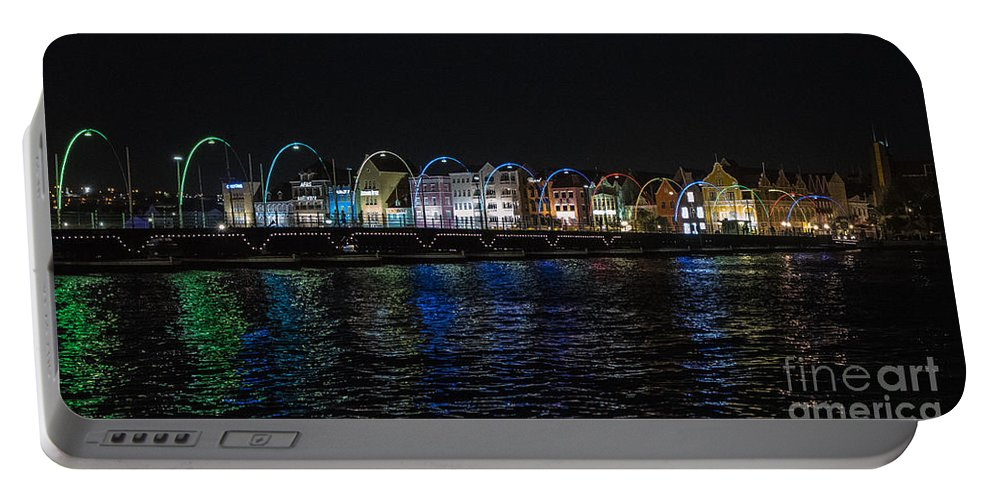 Curacao Portable Battery Charger featuring the photograph Willemstad Curacao At Night by Kenneth Lempert