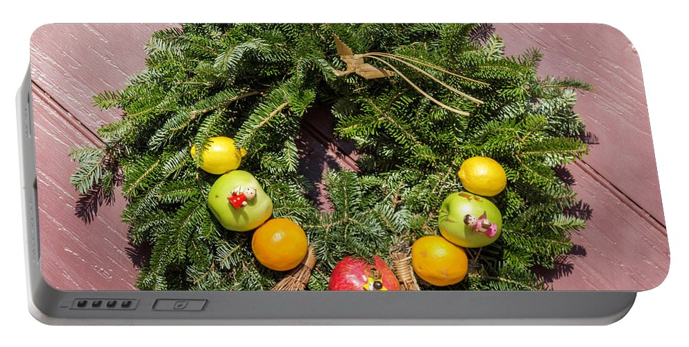 2015 Portable Battery Charger featuring the photograph Williamsburg Wreath 54 by Teresa Mucha