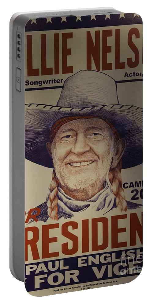 Willie Nelson Portable Battery Charger featuring the photograph Willie For President by Bob Hislop