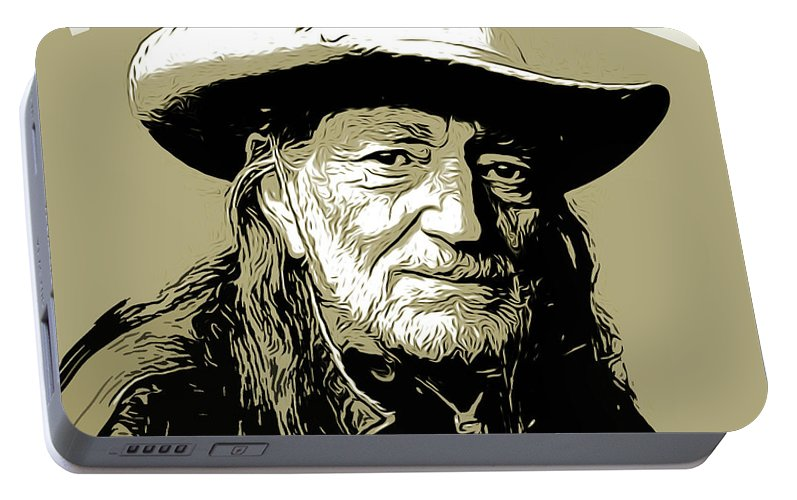Willie Nelson Portable Battery Charger featuring the mixed media Willie by Greg Joens