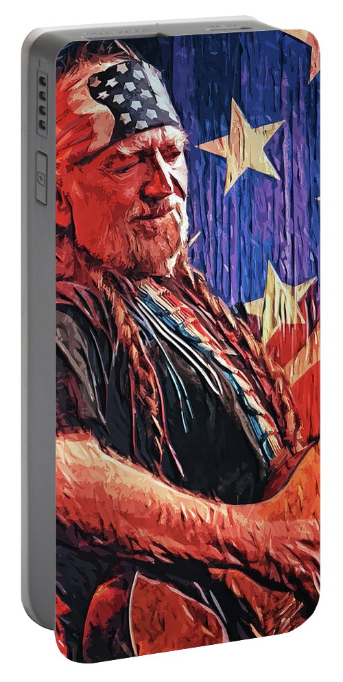 Willie Nelson Portable Battery Charger featuring the digital art Willie Nelson by Zapista OU