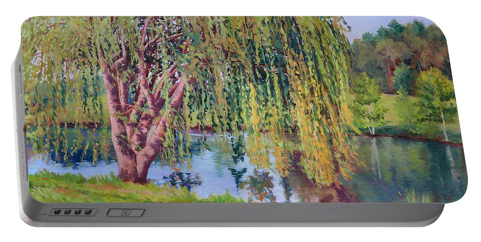 Impressionism Portable Battery Charger featuring the painting Willow by Keith Burgess