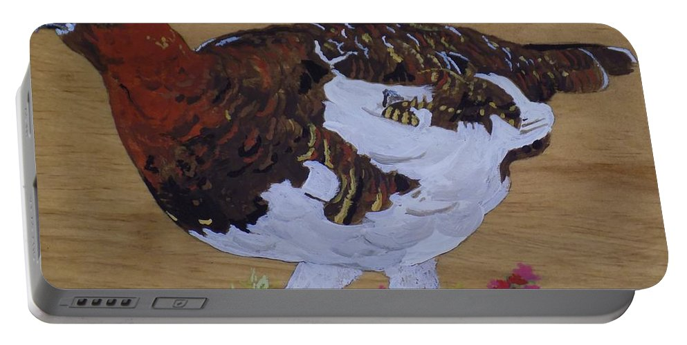 Alaska Portable Battery Charger featuring the painting Willow Ptarnagin by Paul Bashore