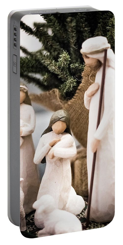 Willow Tree Portable Battery Charger featuring the photograph Willow Tree Nativity At Christmas by Steven Jones