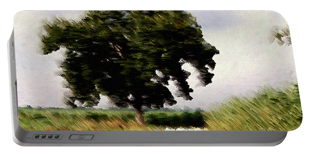 Breeze Portable Battery Charger featuring the digital art Wind Motif Old Dam Road by RC DeWinter