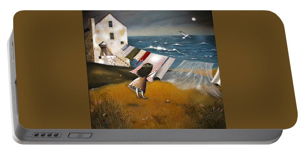 Art Portable Battery Charger featuring the painting Wind Of Change. by Emilia Shelamova