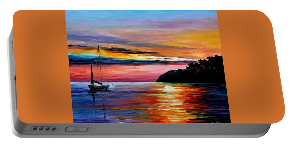 Afremov Portable Battery Charger featuring the painting Wind Of Hope by Leonid Afremov