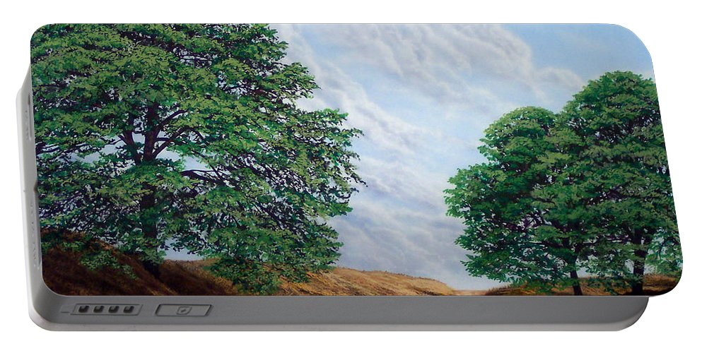 Landscape Portable Battery Charger featuring the painting Windblown Clouds by Frank Wilson