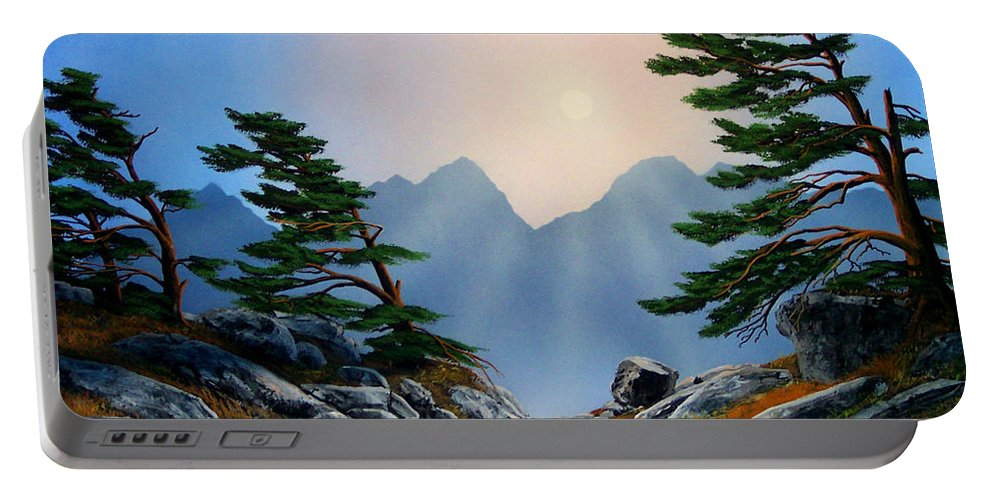Windblown Pines Portable Battery Charger featuring the painting Windblown Pines by Frank Wilson