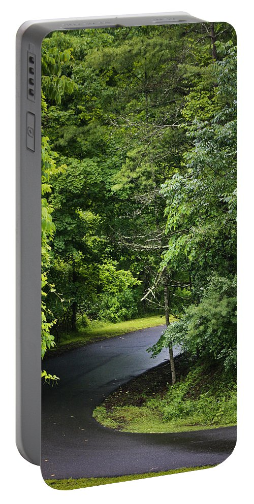 Rain Portable Battery Charger featuring the photograph Winding Road Bluestone State Park West Virginia by Teresa Mucha