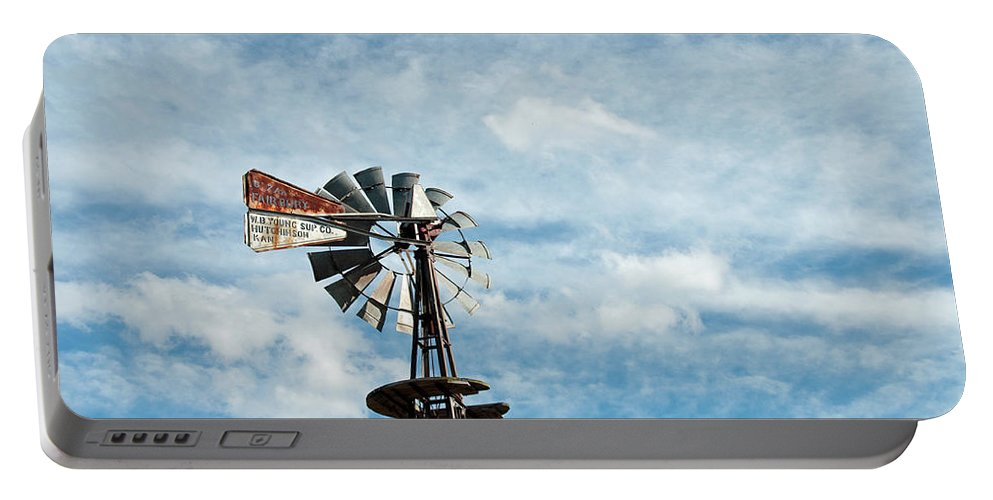 Windmill Portable Battery Charger featuring the photograph Windmill And Clouds by David Arment