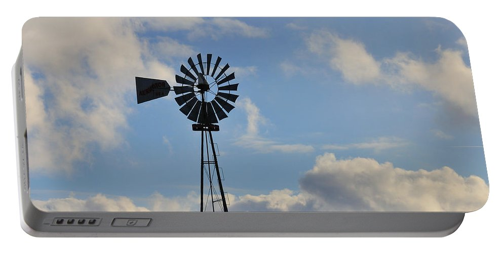 Windmill Portable Battery Charger featuring the photograph Windmill And Sky by David Arment