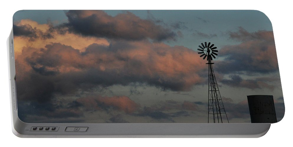 Windmill Portable Battery Charger featuring the photograph Windmill And Tank At Dusk by David Arment