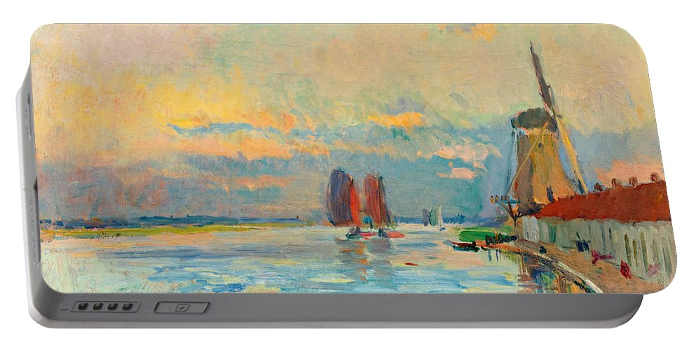 Albert Lebourg Portable Battery Charger featuring the painting Windmill At A Channel In Rotterdam by Albert Lebourg