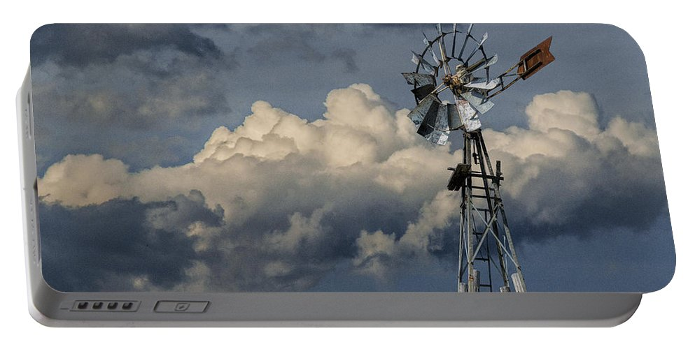 Art Portable Battery Charger featuring the photograph Windmill Energy On Old Prairie Farm by Randall Nyhof