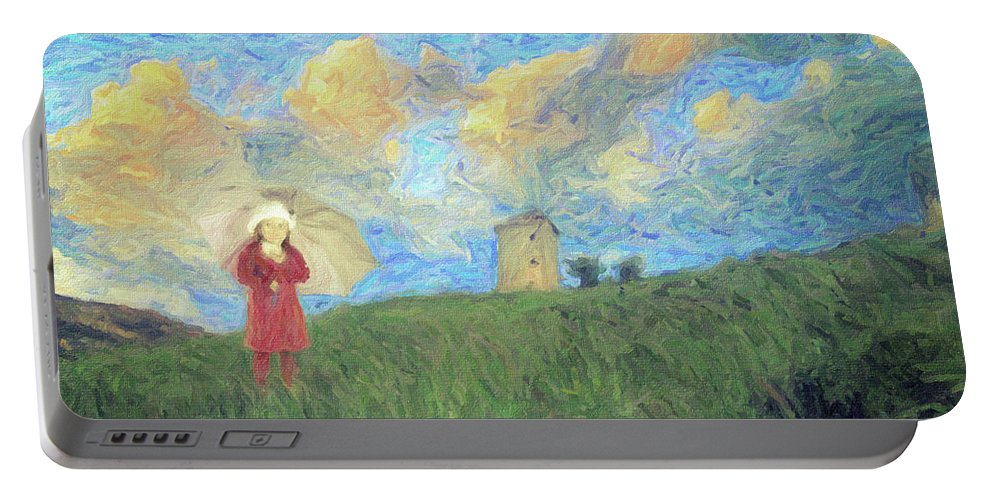 Impressionism Portable Battery Charger featuring the painting Windmill Girl by Zapista
