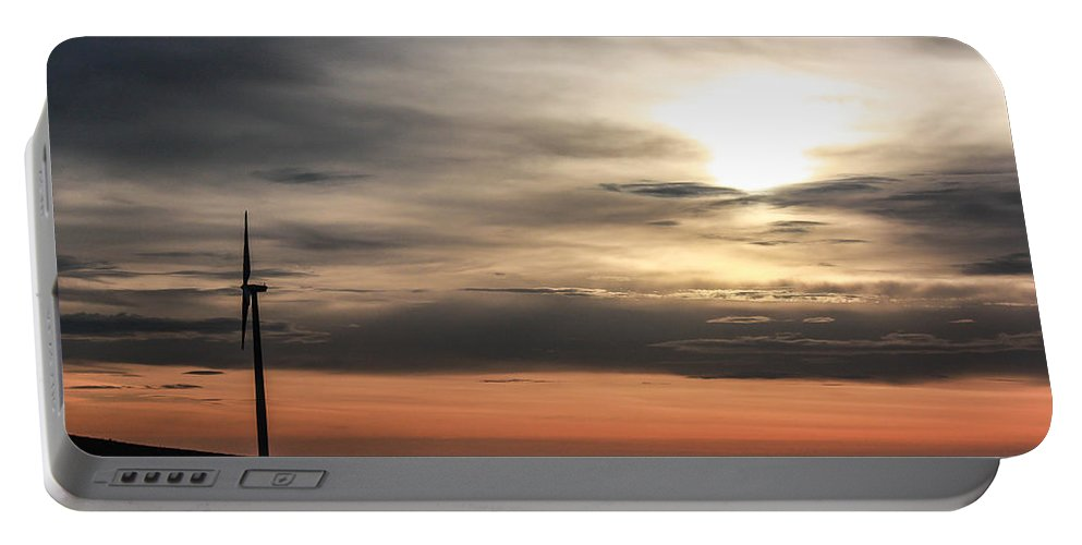 Windmill Portable Battery Charger featuring the photograph Windmill In Sunrise by Jacki Smoldon