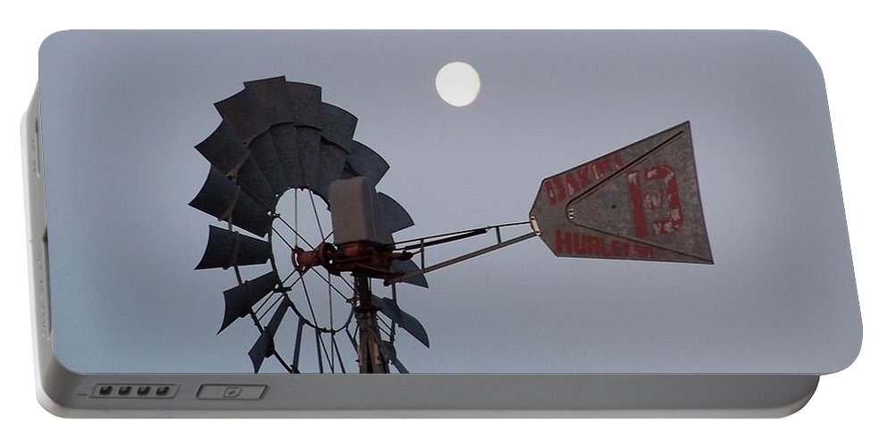 Windmill Portable Battery Charger featuring the photograph Windmill Moon by Gale Cochran-Smith