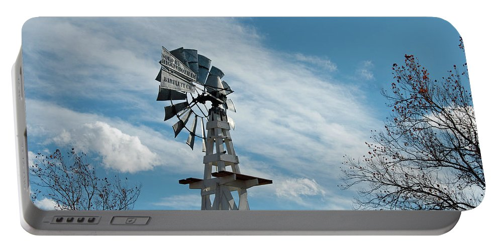 Windmill Portable Battery Charger featuring the photograph Windmill With White Wood Base by David Arment