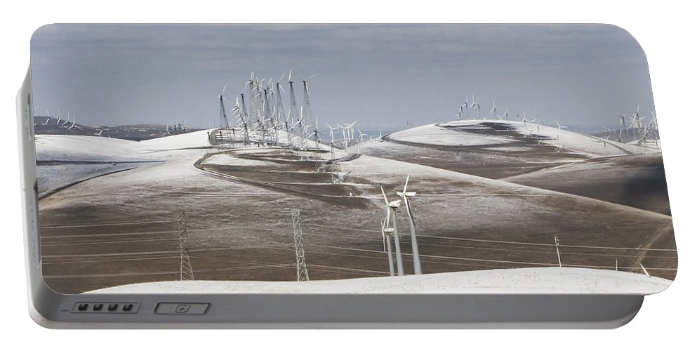 Patterson Pass Portable Battery Charger featuring the photograph Windmils In Snow by Karen W Meyer