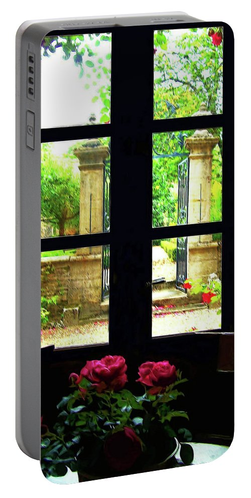 Botanical Portable Battery Charger featuring the digital art Window And Roses by Joan Minchak