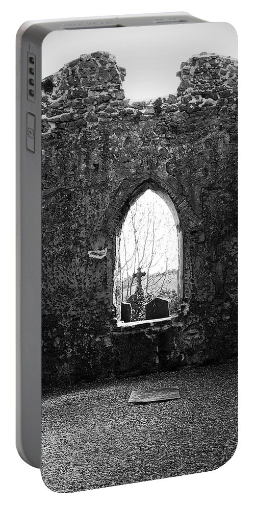 Ireland Portable Battery Charger featuring the photograph Window At Fuerty Church Roscommon Ireland by Teresa Mucha