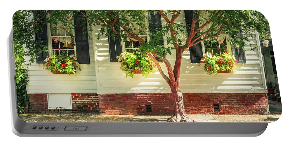 Window Boxes Portable Battery Charger featuring the photograph Window Boxes by Joshua Corrigan