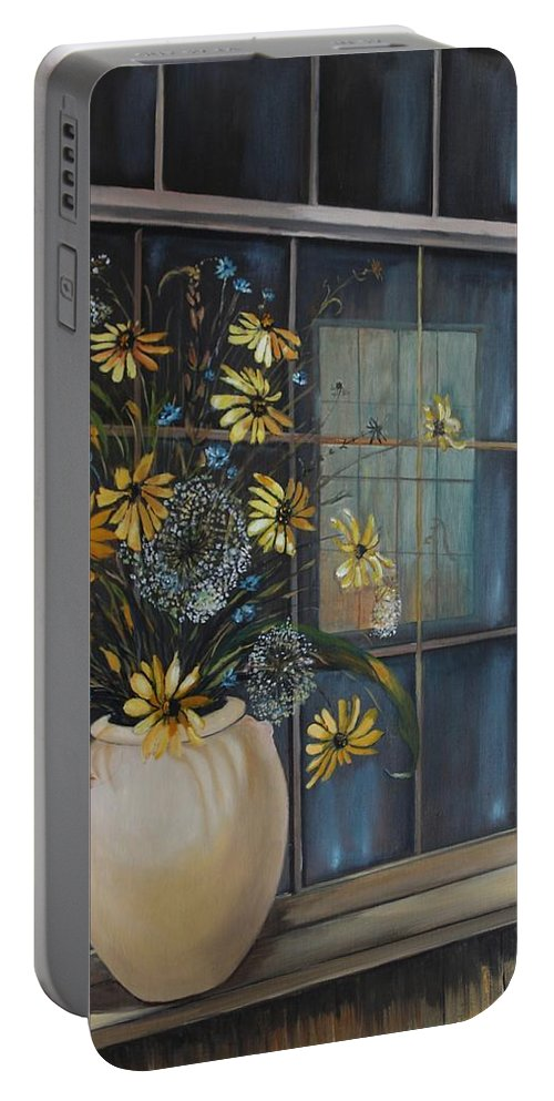 Wild Flowers Portable Battery Charger featuring the painting Window Dressing - Lmj by Ruth Kamenev