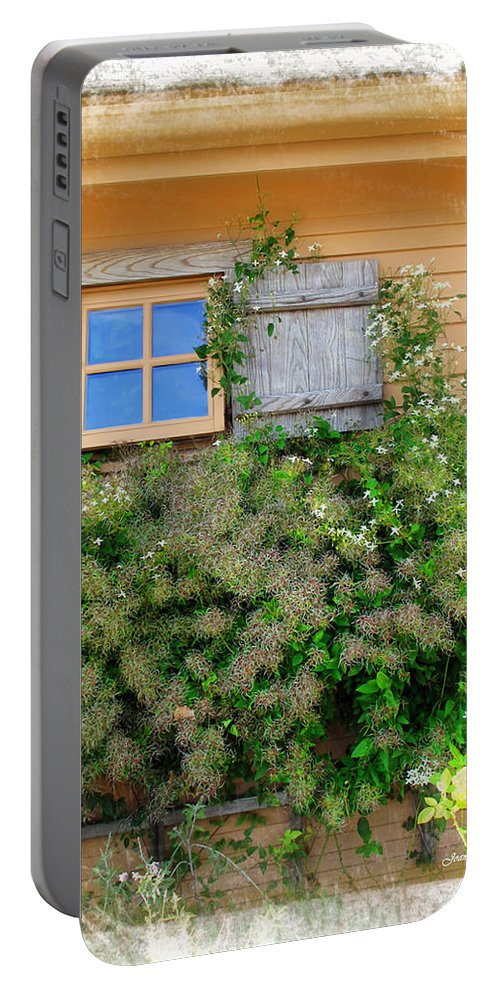 Window Portable Battery Charger featuring the photograph Window Floral In Plymouth by Joan Minchak