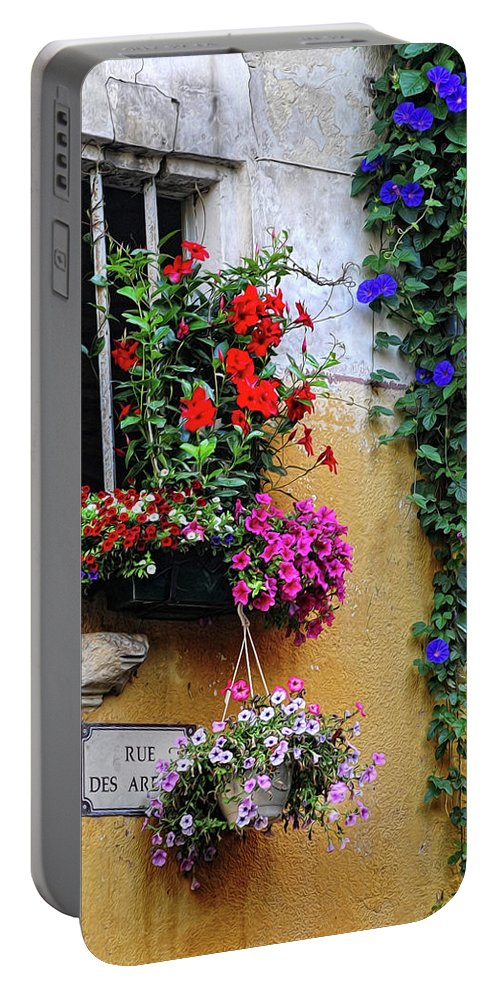 Flowers Portable Battery Charger featuring the photograph Window Garden In Arles France by Dave Mills