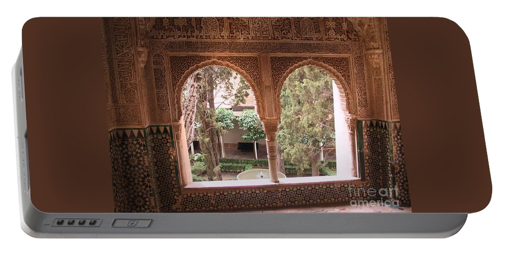 Window Portable Battery Charger featuring the photograph Window In La Alhambra by Thomas Marchessault