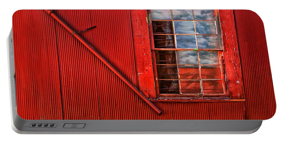 Window Portable Battery Charger featuring the photograph Window In Red by Clayton Brandenburg