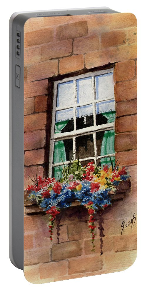 Window Portable Battery Charger featuring the painting Window by Sam Sidders