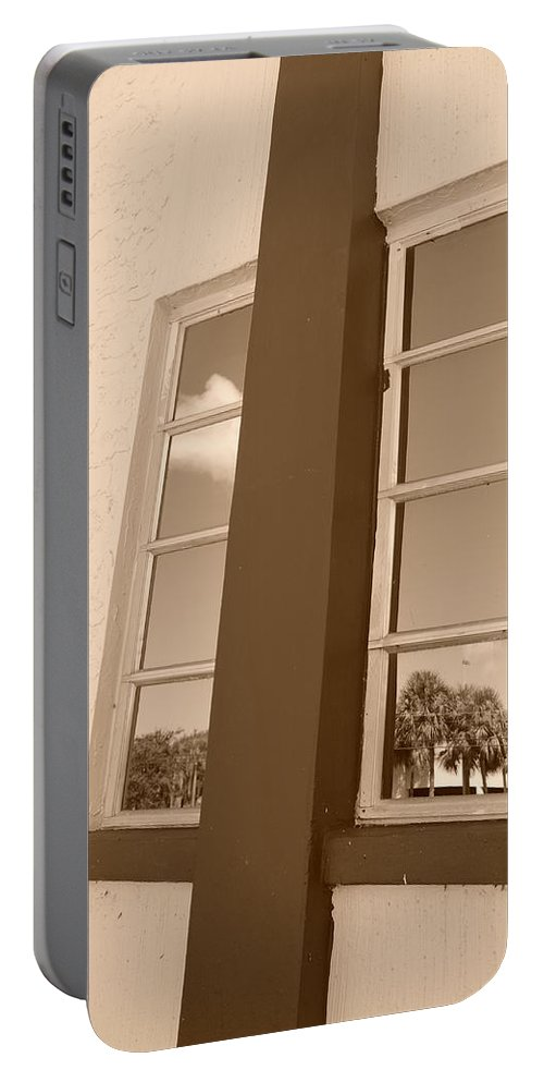 Sepia Portable Battery Charger featuring the photograph Window T Glass by Rob Hans