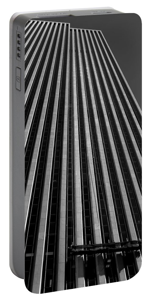 Buildings Portable Battery Charger featuring the photograph Window Washers View - Black And White by Karol Livote