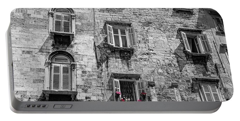 Black And White Photography Portable Battery Charger featuring the photograph Windows by Brent Kaire