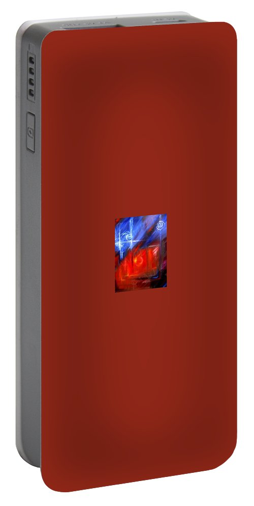 Abstracts Portable Battery Charger featuring the painting Windows by James Christopher Hill