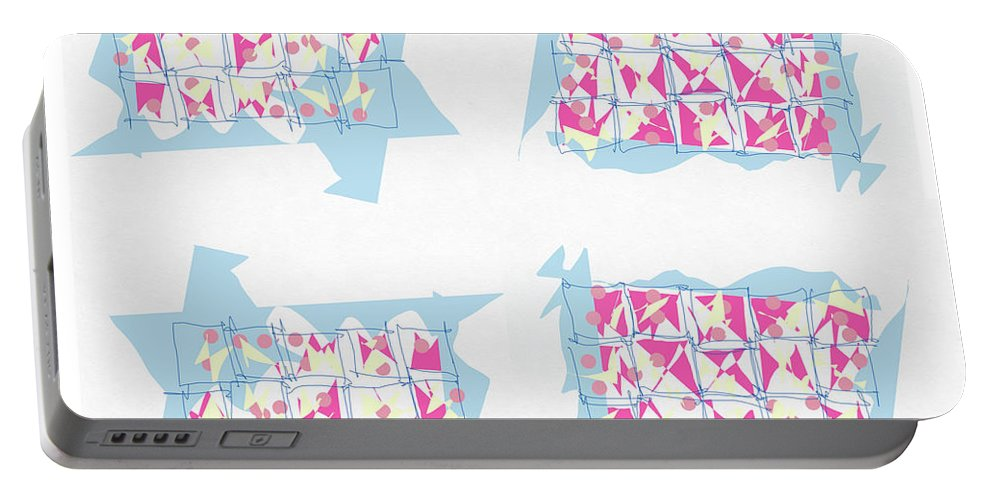 Abstract Portable Battery Charger featuring the digital art Windows by Mary Jo Hopton