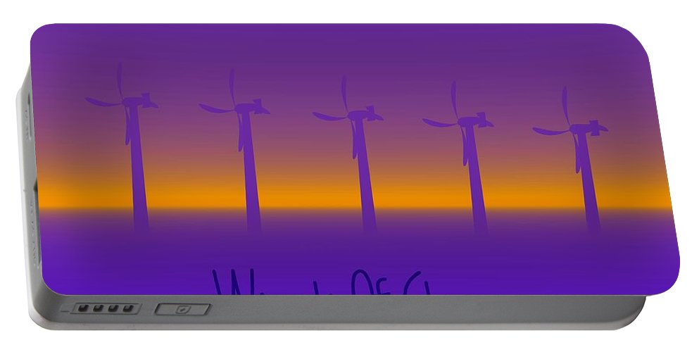 Windmills Portable Battery Charger featuring the digital art Winds Of Change by Robert Orinski