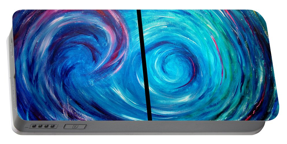 Blue Portable Battery Charger featuring the painting Windswept Blue Wave And Whirlpool 2 by Nancy Mueller