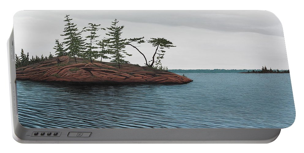 Island Portable Battery Charger featuring the painting Windswept Island Georgian Bay by Kenneth M Kirsch