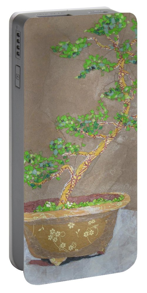 Banzai Tree Portable Battery Charger featuring the painting Windswept Juniper by Leah Tomaino