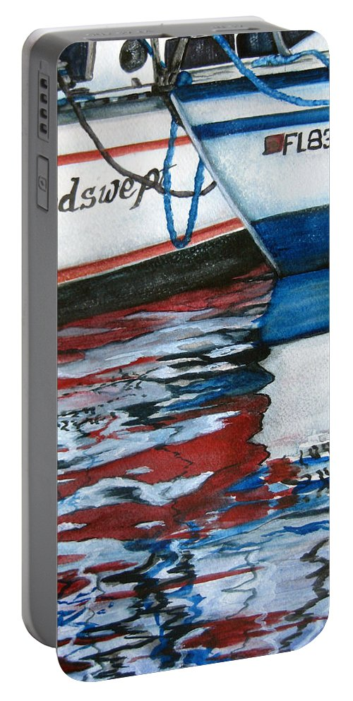 Reflections Portable Battery Charger featuring the painting Windswept Reflections Sold by Lil Taylor