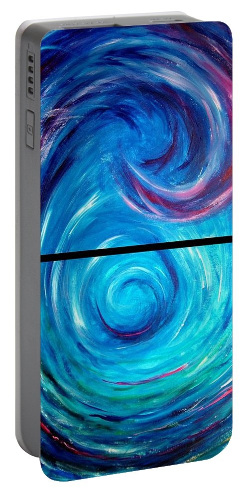 Blue Portable Battery Charger featuring the painting Windwept Blue Wave And Whirlpool Diptych 1 by Nancy Mueller