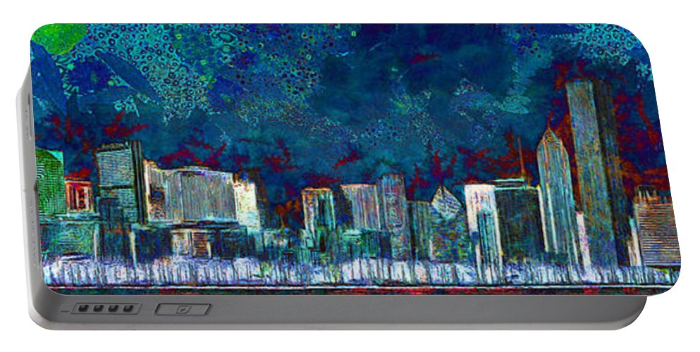 Wingsdomain Portable Battery Charger featuring the photograph Windy Chicago Illinois Skyline Party Nights 20180516 by Wingsdomain Art and Photography