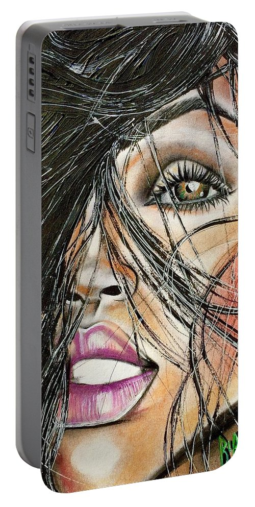 Artist Ria Portable Battery Charger featuring the drawing Windy Daze by Artist RiA