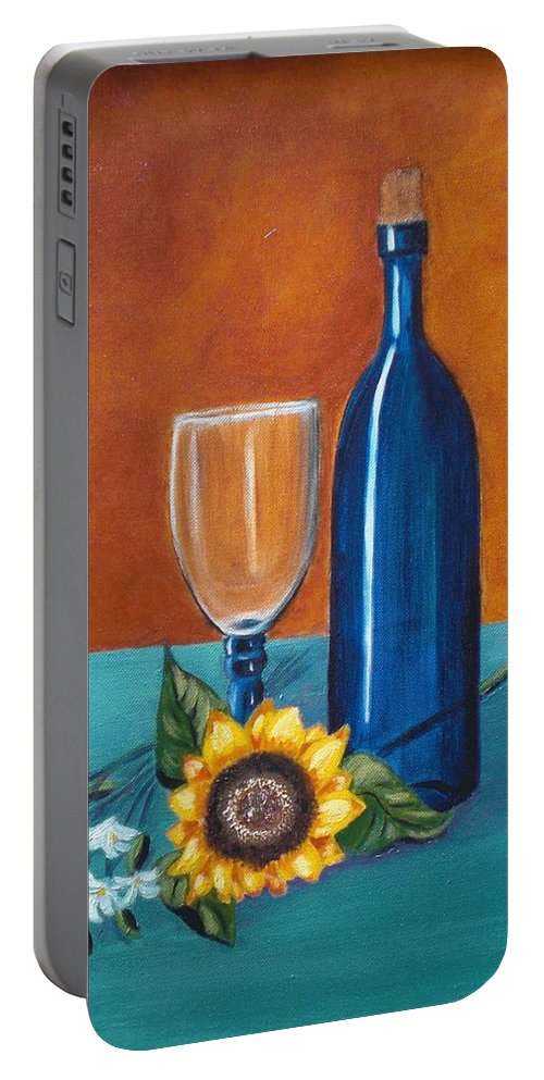 Wine Portable Battery Charger featuring the painting Wine And Flowers by Nancy Sisco
