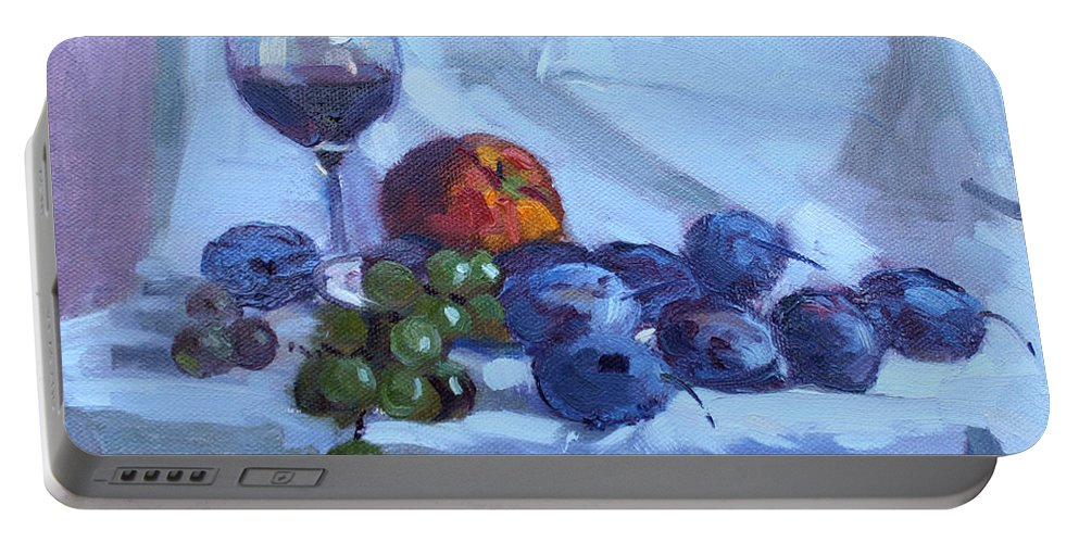 Wine Portable Battery Charger featuring the painting Wine And Fresh Fruits by Ylli Haruni