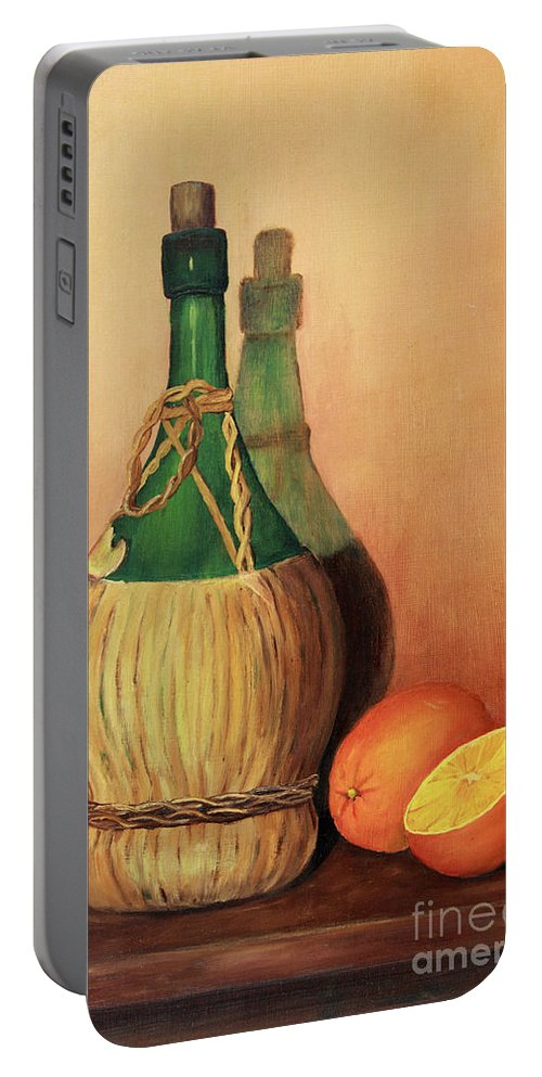 Wine Portable Battery Charger featuring the painting Wine And Oranges by Pattie Calfy