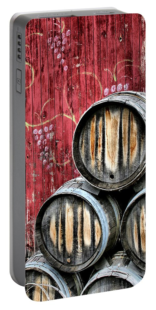 Wine Portable Battery Charger featuring the photograph Wine Barrels by Doug Hockman Photography